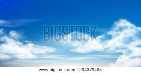 Cloud In Blue Sky. Fluffy Clouds In Cloudy Daytime Skies. Realistic White Clouds Vector Background I