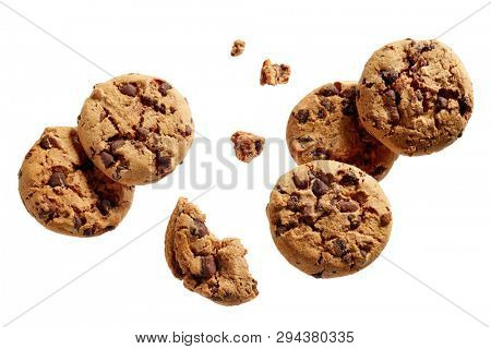 Broken chocolate chip cookies. Cookies broken in pieces with crumbs.