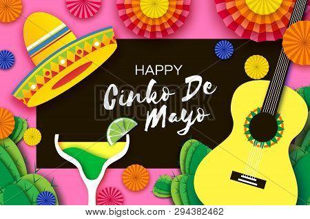 Happy Cinco De Mayo Greeting Card. Paper Fan, Funny Pinata, Guitar, Cactus In Paper Cut Style. Marga