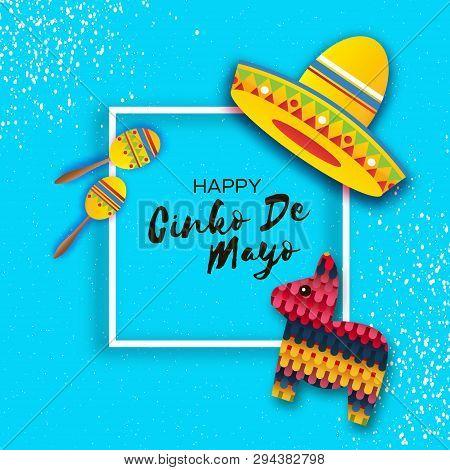 Happy Cinco De Mayo Greeting Card. Paper Fan, Funny Pinata, Maraca In Paper Cut Style. Origami Sombr