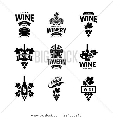 Modern Wine Vector Isolated Logo Collection For Tavern, Restaurant, House, Shop, Store, Club And Cel