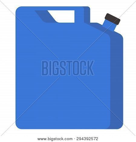 Blue Jerrycan Flat Illustration. City Life And Everyday Objects Series.