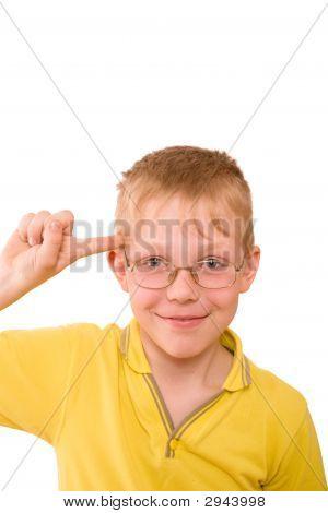 Boy Twist By Finger Near Temple
