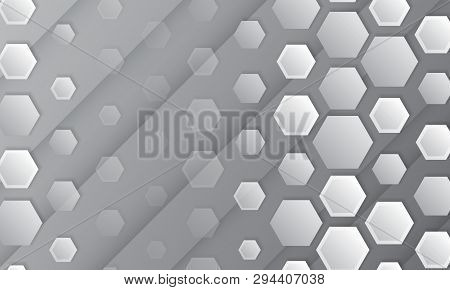 Abstract Geometric Background With Hexagons. Polygonal Shape Light And Shadow Effect On The Grey Bac
