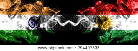 India Vs Kurdistan, Kurdish Smoke Flags Placed Side By Side. Thick Colored Silky Smoke Flags Of Indi