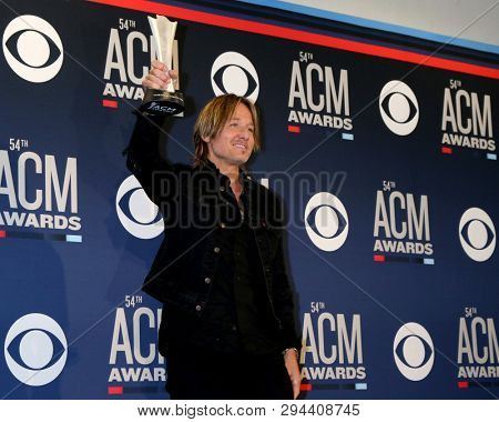 LAS VEGAS - APR 7:  Keith Urban at the 54th Academy of Country Music Awards at the MGM Grand Garden Arena on April 7, 2019 in Las Vegas, NV