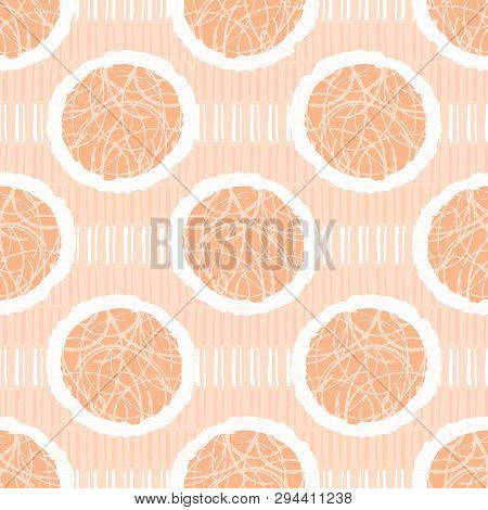 Hand Drawn Textured Polka Dot Circles Seamless Pattern. Sketchy Organic Dotty Lines Vector Illustrat