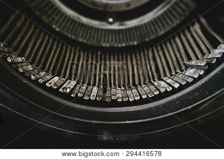 Old Typewriter From Above. An Old Typewriters Macro Shot Of Letters