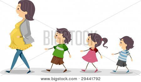 Illustration of a Pregnant Mom Being Followed by Her Kids