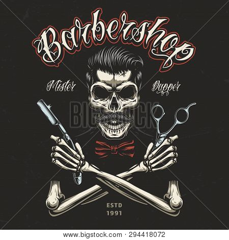 Vintage Barbershop Colorful Badge With Skeleton Hands Holding Barber Tools And Skull With Trendy Hai