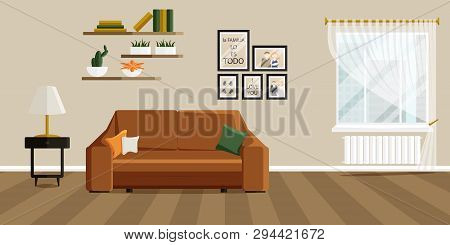 Vector Design Of Living Room With Fashionable Furniture. Vector Illustration In Flat Style. Design O