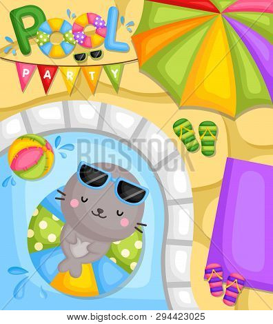A Vector Of Cute Little Seal Relaxing And Sleeping On Float At Pool