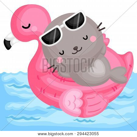 A Vector Of Cute Little Seal Relaxing On Top Of Pink Flamingo Float At The Pool