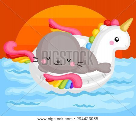 A Vector Of Cute Little Seal Sitting On Top Of Unicorn Float Enjoying The Sunset Time