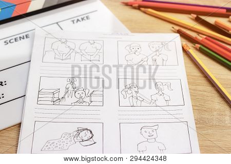 Storyboard Drawing With Pencil Creative Sketch Cartoon. Storyboarding Is Process Image Displayed In