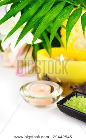 Spa Setting With Candle, Salt And Palm Branch.