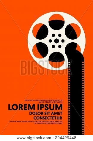 Movie And Film Poster Modern Vintage Retro Style. Graphic Design Template Can Be Used For Background