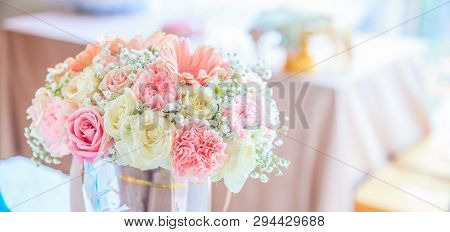Blooming Fresh Flower Bouquet On Reception Table Background. Decorative Ornamental Flower, Nature, V