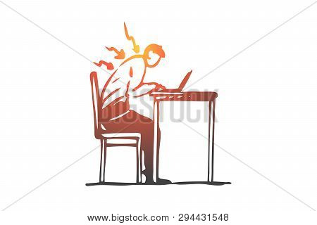 Posture, Bad, Spine, Sit, Table, Wrong Concept. Hand Drawn Man Works At The Computer In Wrong Postur