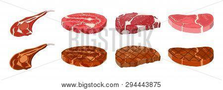 Collection Of Fried Steaks. Beef Tenderloin. Pork Knuckle. Slice Of Steak, Fresh Meat. Uncooked Pork
