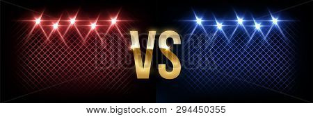 Battle Vector Banner Concept. Girls And Boys Competition Illustration With Glowing Versus Symbol And