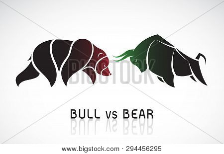 Vector of bull and bear symbols of stock market trends. Stock market and business concept. The growing and falling market. Wild Animals. poster