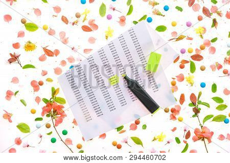 Springtime Income Tax Calculation, Yellow Highlighter And Business Report Flat Lay Top View With Col