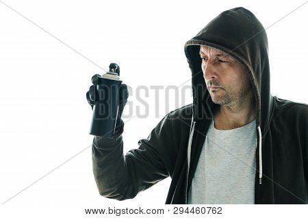 Hooded Graffiti Artist With Spray Paint Can Isolated On White Background
