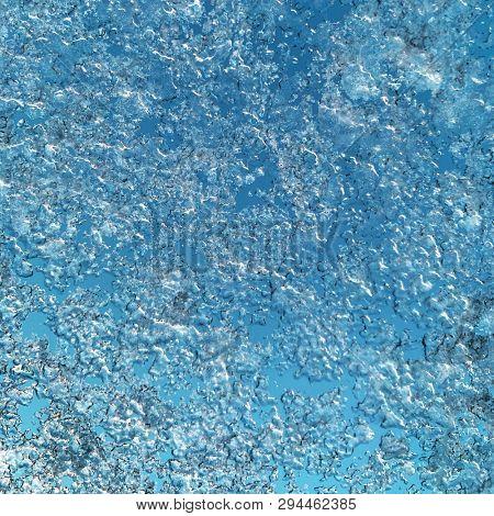 Frozen blue Ice Pattern in Winter