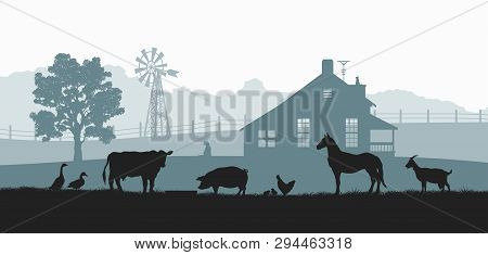 Silhouettes Of Farm Animals. Rural Landscape With Cow, Horse And Pig. Village Panorama For Poster. F