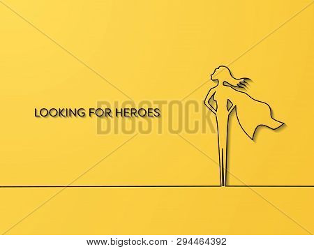 Business Hiring And Recruitment Vector Concept With Emphasis On Woman As Superhero. Symbol Of Talent