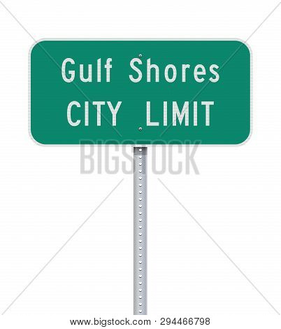 Vector Illustration Of The Gulf Shores City Limit Green Road Sign