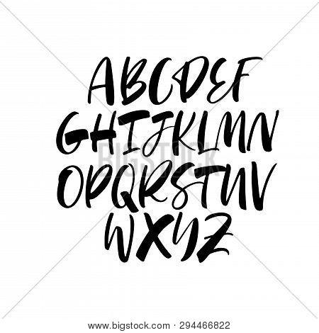 Calligraphy Alphabet Vector Typeset. Handwritten Font. Ink Pen Lettering. Black Bold Capital Letters