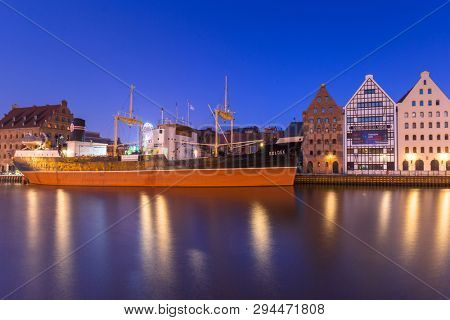 Gdansk, Poland - April 7, 2019: SS SOLDEK on Motlawa river in Gdansk. SS SOLDEK is the first ship built in Poland after World War II. Currently is preserved as a museum ship in Gdansk.