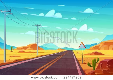 Empty Highway Road In Desert, Going Far To Horizon Cartoon Vector. Two Line Path, Power Line Pillars