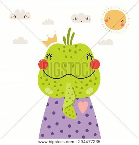 Hand Drawn Portrait Of A Cute Iguana In Shirt And Crown, With Sun And Clouds. Vector Illustration. I