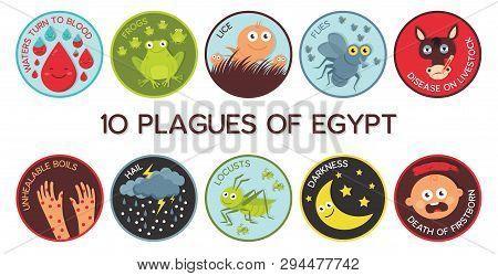 Passover Ten Plagues Of Egypt Cartoon- Vector