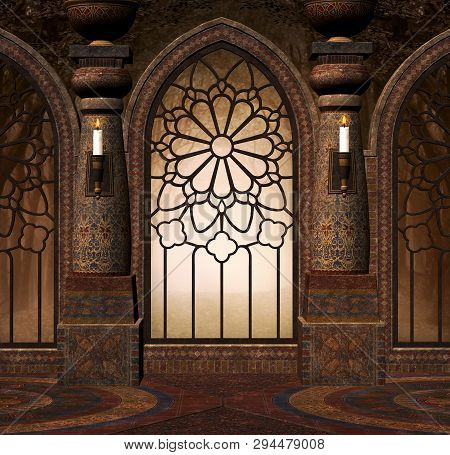 Fantasy Gothic Gate In A Medieval Mansion - 3d Illustration