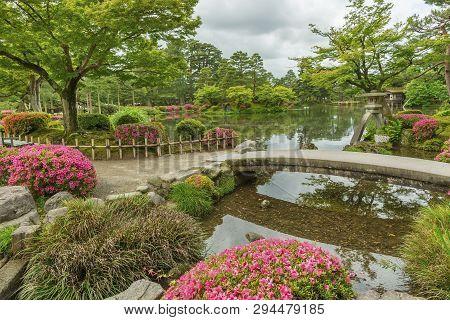 Idyllic Landscape Of Japanese Garden Kenrokuen In Kanazawa, Japan