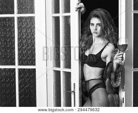 Woman Seductive Appearance. Woman Seductive Model Wear Luxury Fur And Elite Lingerie. Confident In H
