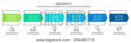 Modern Vector Flat Illustration. Infographic Arrows Template With Six Elements, Shapes, Icons. Timel