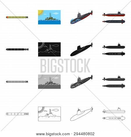 Isolated Object Of War  And Ship Logo. Collection Of War  And Fleet Vector Icon For Stock.