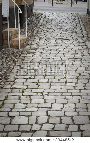 Cobblestone In Old English Town