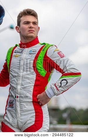 April 06, 2019 - Birmingham, Alabama, USA: PATRICIO O'WARD (R) (31) of Mexico prepares to qualify for the Honda Indy Grand Prix of Alabama at Barber Motorsports Park in Birmingham, Alabama.