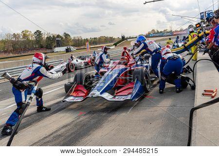 April 07, 2019 - Birmingham, Alabama, USA: MATHEUS LEIST (4) of Brazil brings his car in for service during the Honda Indy Grand Prix of Alabama at Barber Motorsports Park in Birmingham Alabama.