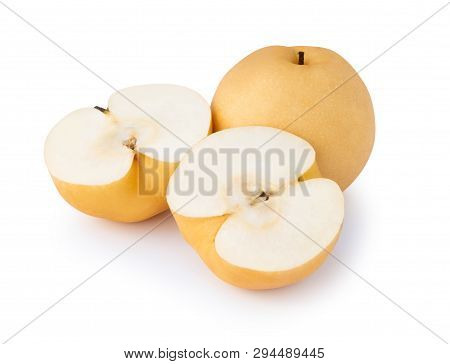 Chinese Pear Fruit With Sliced Isolated On White Background