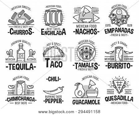 Mexican Cuisine Restaurant Or Cafe Icons. Vector Sweet Churros Dessert, Taco Or Burrito And Quesadil