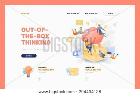 Out-of-the-box Thinking Front Page Vector Template. Business Metaphor Of Thinking Outside The Box Or
