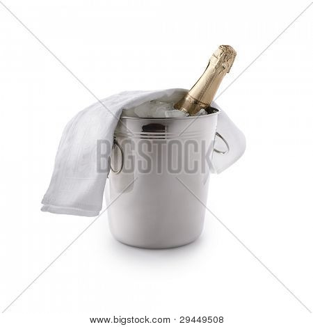 champagne bucket with ice and  bottle isolated on white