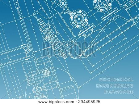 Blueprint. Vector Engineering Illustration. Computer Aided Design Systems. Instrument-making Drawing